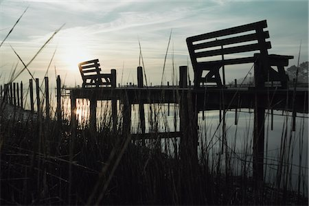 david zimmerman - Benches on Pier at Dusk, Chincoteague, Virginia, USA Stock Photo - Rights-Managed, Code: 700-02694078