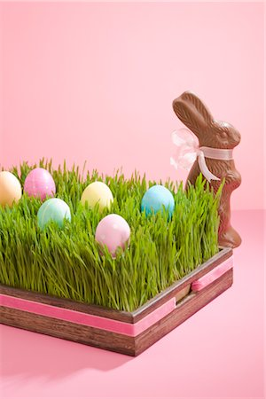 Easter Eggs and Chocolate Bunny Stock Photo - Rights-Managed, Code: 700-02694512