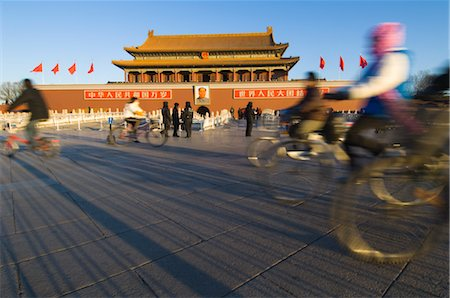 Commuters Passing the Gate of Heavenly Peace at Sunrise, Imperial Palace, Tiananmen Square, Forbidden City, Beijing, China Stock Photo - Rights-Managed, Code: 700-02698367