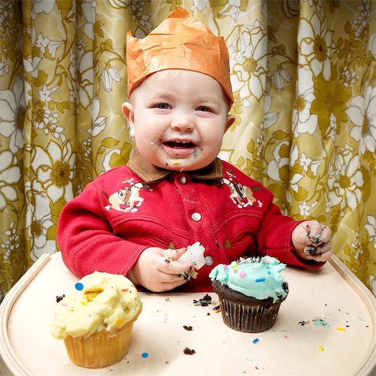 Baby Eating Cupcakes Stock Photo - Premium Rights-Managed, Artist: Brian Kuhlmann, Image code: 700-02693927