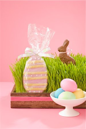 Easter Eggs and Cookies, and Chocolate Bunny Stock Photo - Rights-Managed, Code: 700-02693980