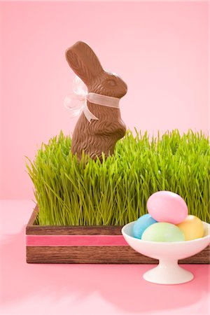 Easter Eggs and Chocolate Bunny Stock Photo - Rights-Managed, Code: 700-02693981