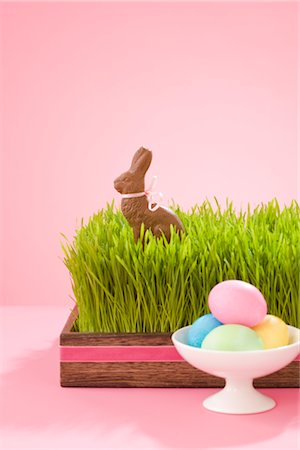 Easter Eggs and Chocolate Bunny Stock Photo - Rights-Managed, Code: 700-02693982
