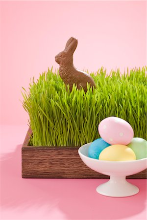 Easter Eggs and Chocolate Bunny Stock Photo - Rights-Managed, Code: 700-02693983