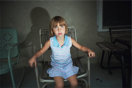 Little Girl Sitting in Lawn Chair Stock Photo - Rights-Managed, Code: 700-02702548