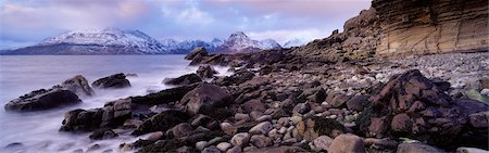 panoramic winter scene - View of the Cuillin Mountains From Elgol, Highlands, Isle of Skye, Scotland Stock Photo - Rights-Managed, Code: 700-02723154