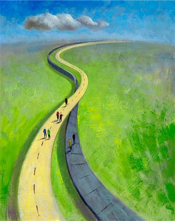 Illustration of People on Two Differnt Roads Going in the Same Direction Stock Photo - Rights-Managed, Code: 700-02738038