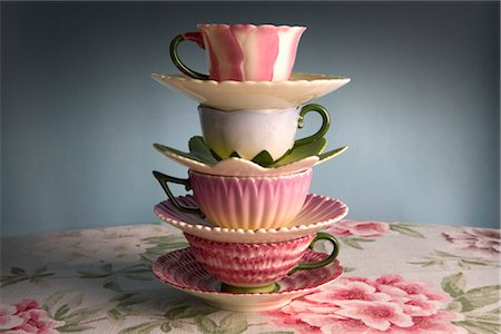 Stack of Fancy Teacups Stock Photo - Rights-Managed, Code: 700-02757172