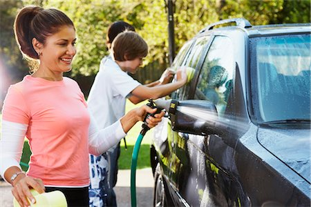 Woman and Teenage Sons Washing Car Stock Photo - Rights-Managed, Code: 700-02757208