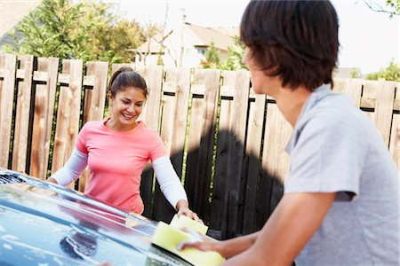 Woman and Teenage Son Washing Car Stock Photo - Rights-Managed, Code: 700-02757201