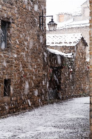 small town snow - Ainsa, Aragon, Spain Stock Photo - Rights-Managed, Code: 700-02757535