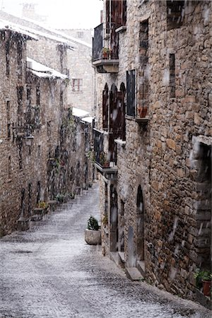 small town snow - Ainsa, Aragon, Spain Stock Photo - Rights-Managed, Code: 700-02757536