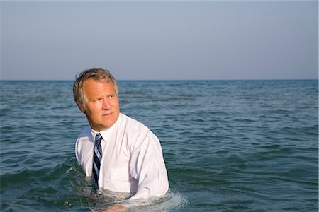 Businessman in the Ocean Stock Photo - Rights-Managed, Code: 700-02797990
