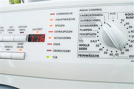 Close-Up of Dials and Buttons on German Washing Machine Stock Photo - Rights-Managed, Code: 700-02801092