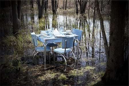 setting kitchen table - Vintage Kitchen Table and Chairs With Place Settings in the Middle of a Swamp Stock Photo - Rights-Managed, Code: 700-02833224