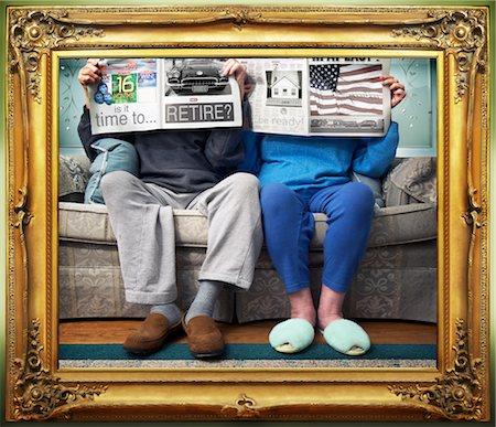 Framed Image of a Couple Reading the Newspaper Stock Photo - Rights-Managed, Code: 700-02833276