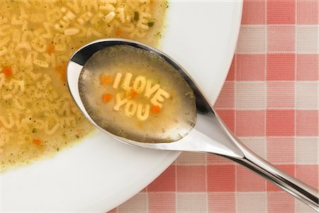 Alphabet Soup Spelling I Love You Stock Photo - Rights-Managed, Code: 700-02903790