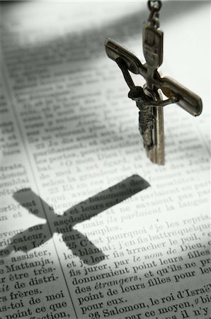 religious cross nobody - Crucifix Hanging above French Bible Stock Photo - Rights-Managed, Code: 700-02912395