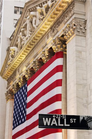 stock exchange building - American FLag, New York Stock Exchange, Manhattan, New York, New York, USA Stock Photo - Rights-Managed, Code: 700-02912895