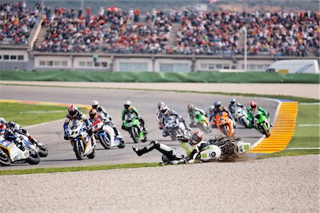 dangerous accident - Motorcycle Racing Crash, Circuit de Valencia, Valencia, Spain Stock Photo - Rights-Managed, Code: 700-02925977