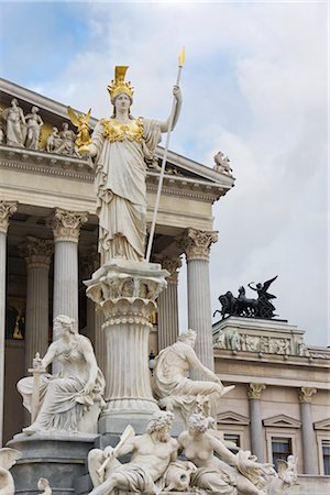 Pallas Athene Fountain in Front of the Parliament Building, Vienna, Austria Stock Photo - Rights-Managed, Code: 700-02935529
