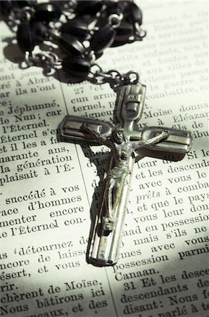 religious cross nobody - Close-up of Crucifix Laying on French Language Bible Stock Photo - Rights-Managed, Code: 700-02935833