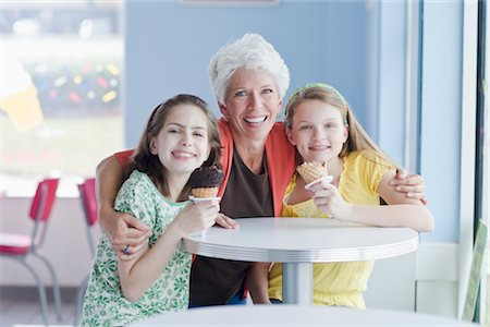 families eating ice cream - Grandmother and Granddaughters Eating Ice Cream Cones Stock Photo - Rights-Managed, Code: 700-02957634