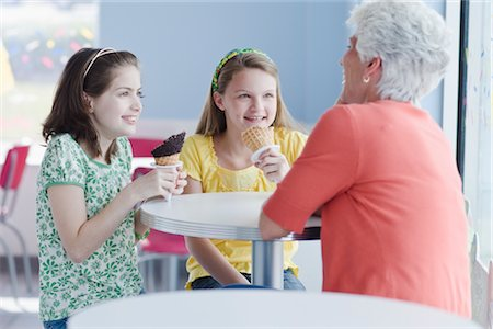 families eating ice cream - Grandmother and Granddaughters Eating Ice Cream Cones Stock Photo - Rights-Managed, Code: 700-02957635
