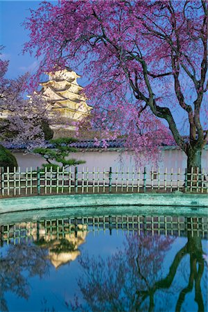 Himeji Castle Lit at Dusk, Himeji, Hyogo, Japan Stock Photo - Rights-Managed, Code: 700-02973209