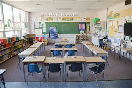 school desk - Interior of Grade One Classroom Stock Photo - Rights-Managed, Code: 700-02989947
