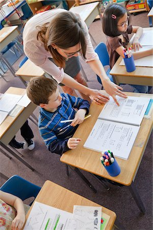 school desk - Children and Teacher in Grade One Classroom Stock Photo - Rights-Managed, Code: 700-02989950
