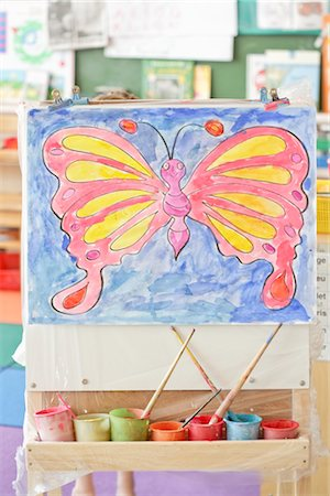 Child's Painting on an Easel Stock Photo - Rights-Managed, Code: 700-02989975