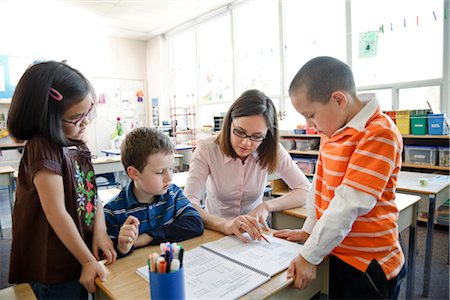 Children and Teacher in Grade One Classroom Stock Photo - Rights-Managed, Code: 700-02989979