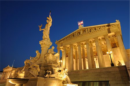 Pallas Athene Fountain and Parliament Building at Dusk, Vienna, Austria Stock Photo - Rights-Managed, Code: 700-02990021