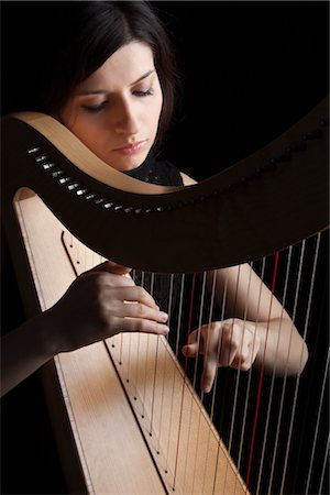 Woman Playing Harp, Rome, Italy Stock Photo - Rights-Managed, Code: 700-03003709
