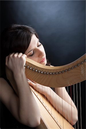 Woman Posing with Harp Stock Photo - Rights-Managed, Code: 700-03003710