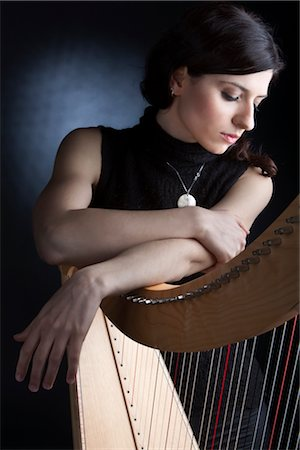Woman with Harp, Rome, Italy Stock Photo - Rights-Managed, Code: 700-03003711