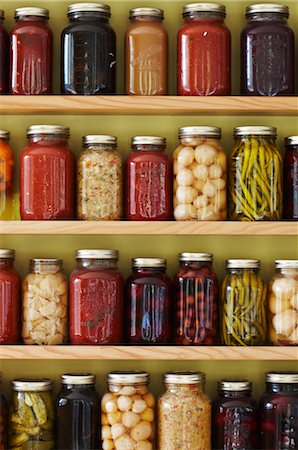 Jars of Preserves on a Shelf Stock Photo - Rights-Managed, Code: 700-03003906