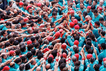 Crowd of People Making a Human Castle, Tarragona, Catalunya, Spain Stock Photo - Rights-Managed, Code: 700-03015068