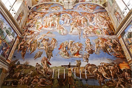 religious cross nobody - The Last Judgement, Sistine Chapel, Vatican Museum, Vatican City, Rome, Italy Stock Photo - Rights-Managed, Code: 700-03015155