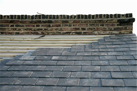 slate - Roof Being Replaced With New Slate Stock Photo - Rights-Managed, Code: 700-03017097