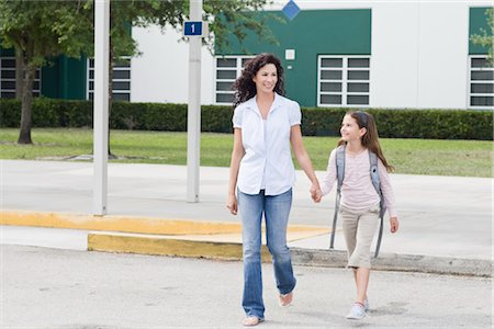 person walking on parking lot - Mother Taking Daughter to School Stock Photo - Rights-Managed, Code: 700-03017592