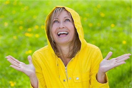 Woman Wearing Raincoat Standing in the Rain Stock Photo - Rights-Managed, Code: 700-03017737