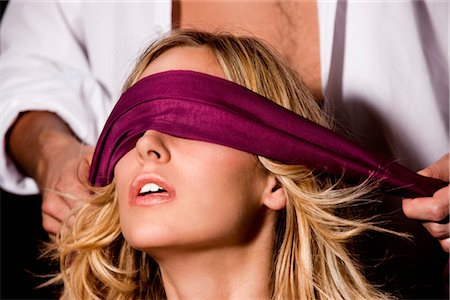Man Putting Blindfold on Woman Stock Photo - Rights-Managed, Code: 700-03054113