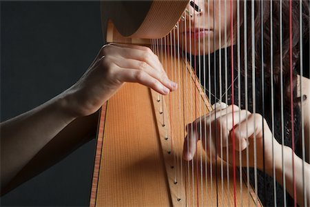 Woman Playing the Harp Stock Photo - Rights-Managed, Code: 700-03059199