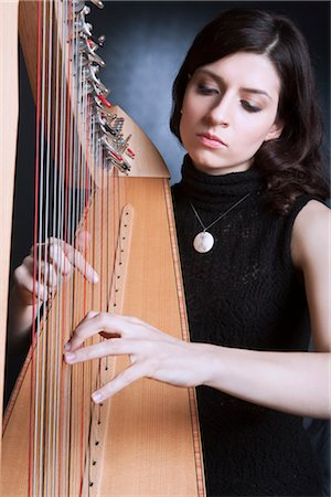 Woman Playing the Harp Stock Photo - Rights-Managed, Code: 700-03059201