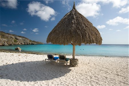 Palapa on Beach, Curacao, Netherlands Antilles Stock Photo - Rights-Managed, Code: 700-03075707