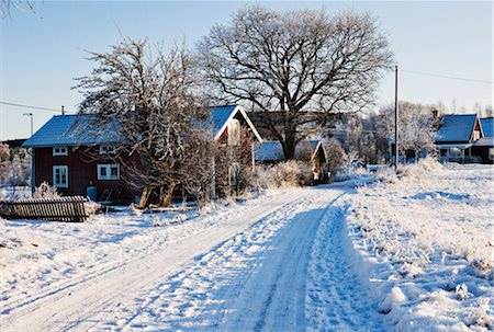 small town snow - Snow Covered Road, Stora Skedvi, Dalarna, Sweden Stock Photo - Rights-Managed, Code: 700-03152401