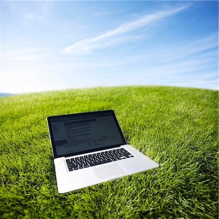 Still Life of Laptop Computer on Grass Stock Photo - Rights-Managed, Code: 700-03178526