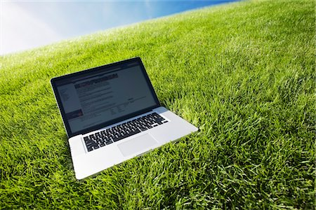 Still Life of Laptop Computer on Grass Stock Photo - Rights-Managed, Code: 700-03178527